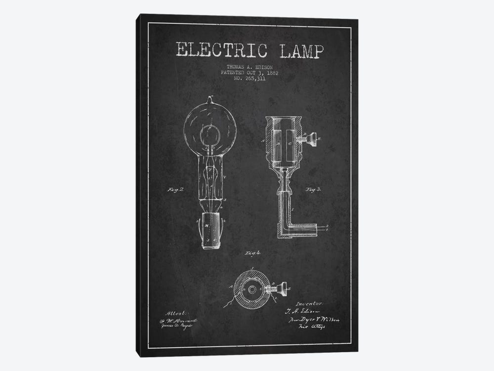 Electric Lamp Charcoal Patent Blueprint by Aged Pixel 1-piece Canvas Art