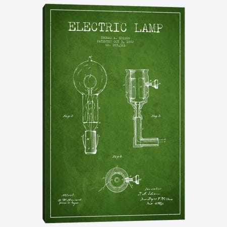 Electric Lamp Green Patent Blueprint Canvas Print #ADP562} by Aged Pixel Canvas Artwork