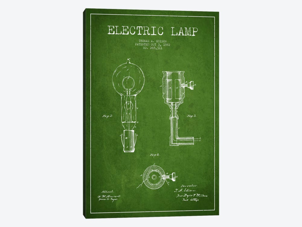 Electric Lamp Green Patent Blueprint by Aged Pixel 1-piece Art Print