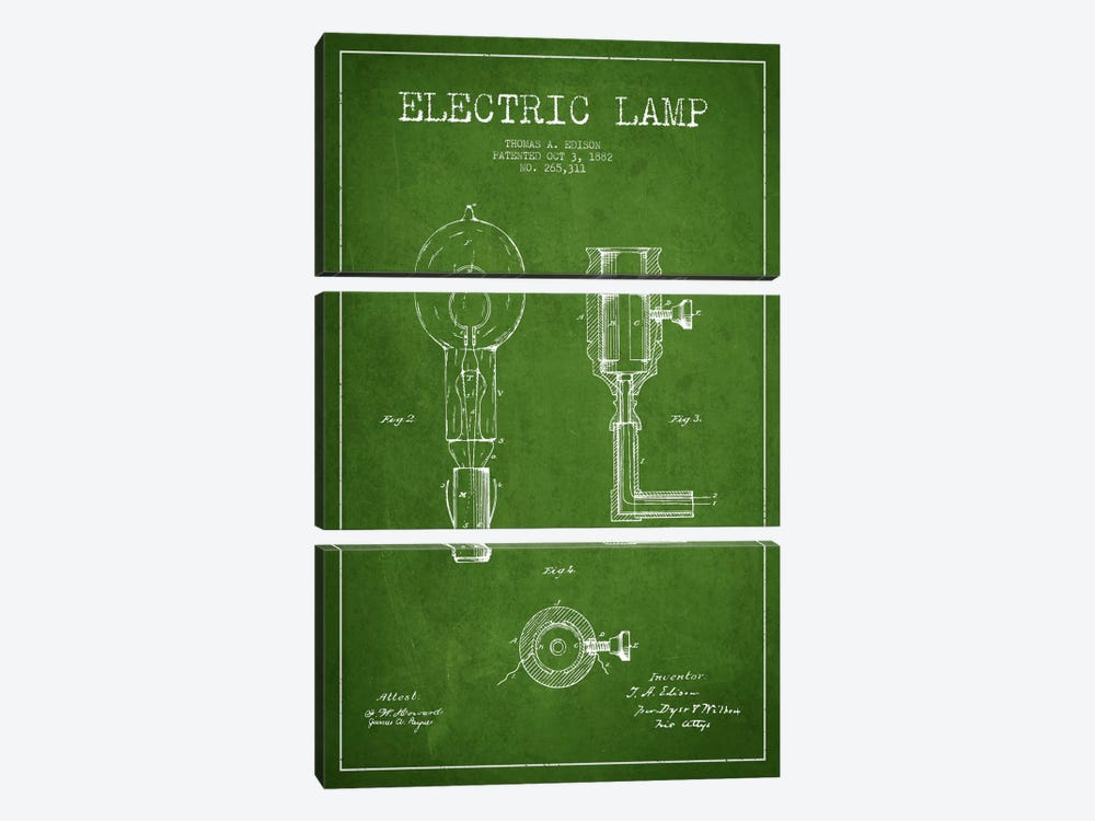 Electric Lamp Green Patent Blueprint by Aged Pixel 3-piece Art Print