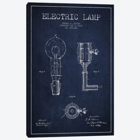 Electric Lamp Navy Blue Patent Blueprint Canvas Print #ADP563} by Aged Pixel Canvas Wall Art