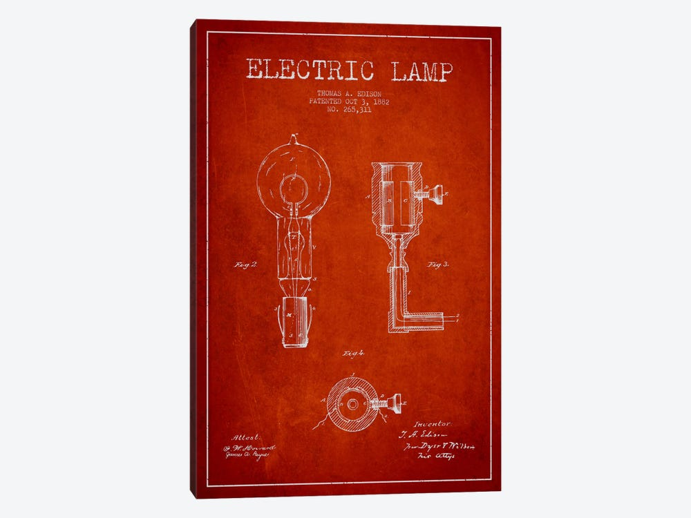 Electric Lamp Red Patent Blueprint by Aged Pixel 1-piece Canvas Art Print