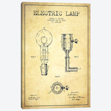 Electric Lamp Vintage Patent Blueprint Canvas Print #ADP565} by Aged Pixel Canvas Print