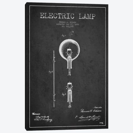 Electric Lamp Charcoal Patent Blueprint Canvas Print #ADP566} by Aged Pixel Canvas Print