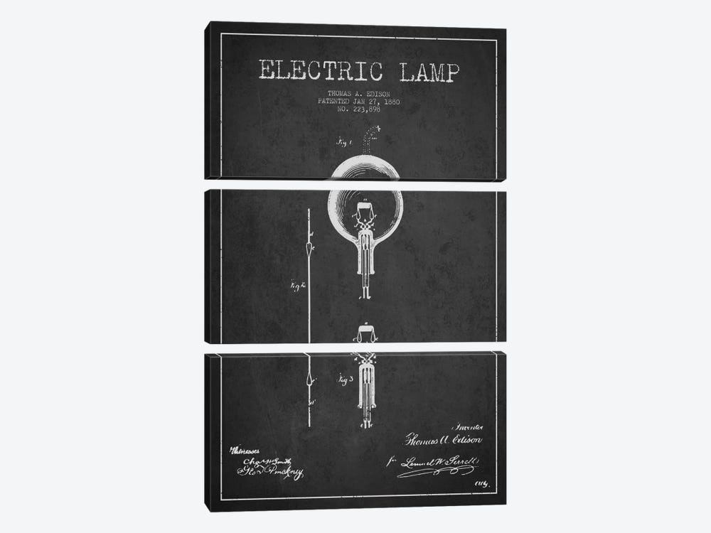 Electric Lamp Charcoal Patent Blueprint by Aged Pixel 3-piece Canvas Art Print