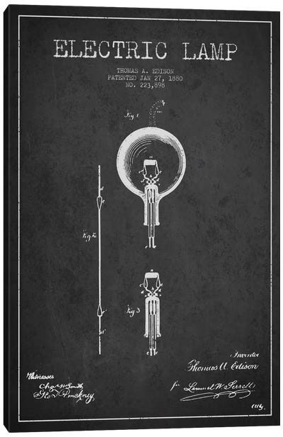 Electric Lamp Charcoal Patent Blueprint Canvas Art Print