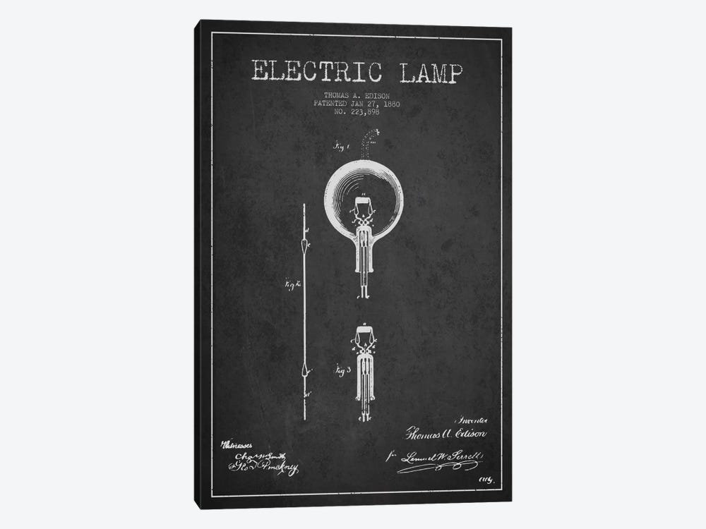 Electric Lamp Charcoal Patent Blueprint by Aged Pixel 1-piece Art Print