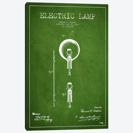 Electric Lamp Green Patent Blueprint Canvas Print #ADP567} by Aged Pixel Art Print