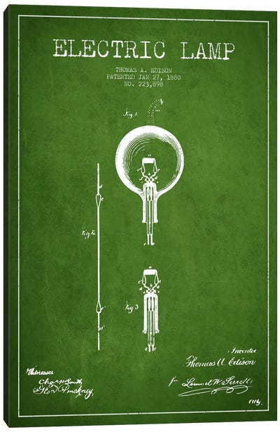 Electric Lamp Green Patent Blueprint Canvas Art Print