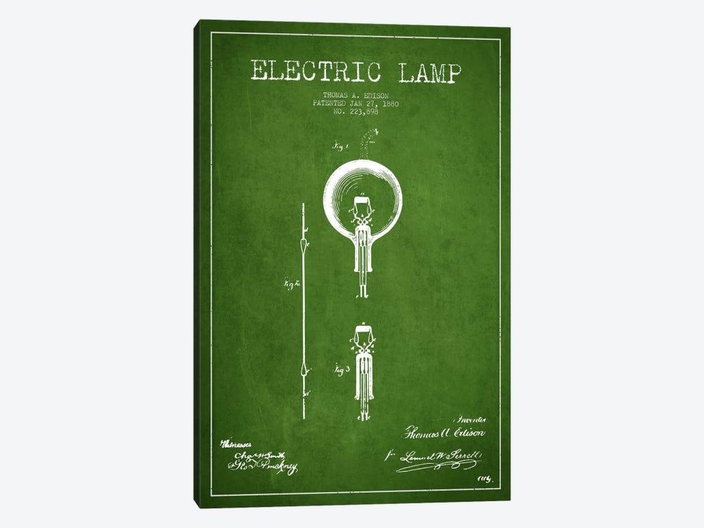 Electric Lamp Green Patent Blueprint by Aged Pixel 1-piece Canvas Artwork