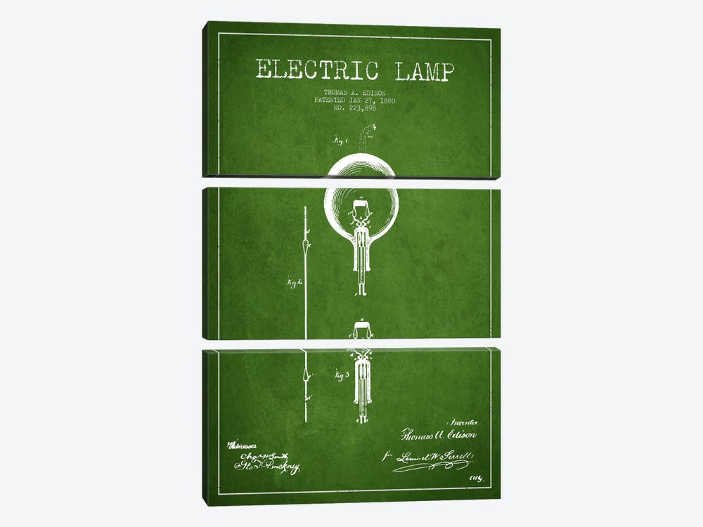 Electric Lamp Green Patent Blueprint by Aged Pixel 3-piece Canvas Artwork