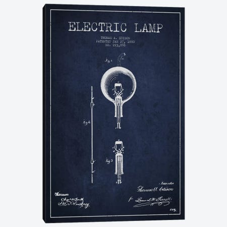 Electric Lamp Navy Blue Patent Blueprint Canvas Print #ADP568} by Aged Pixel Canvas Art