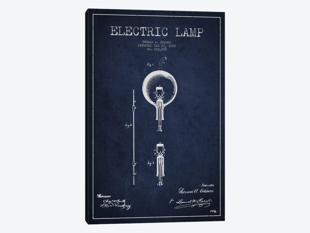 Electric Lamp Navy Blue Patent Blueprint by Aged Pixel 1-piece Art Print