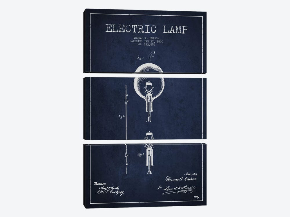 Electric Lamp Navy Blue Patent Blueprint by Aged Pixel 3-piece Canvas Art Print