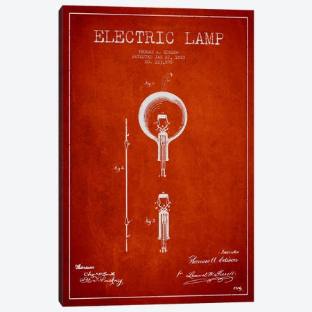 Electric Lamp Red Patent Blueprint Canvas Print #ADP569} by Aged Pixel Canvas Wall Art