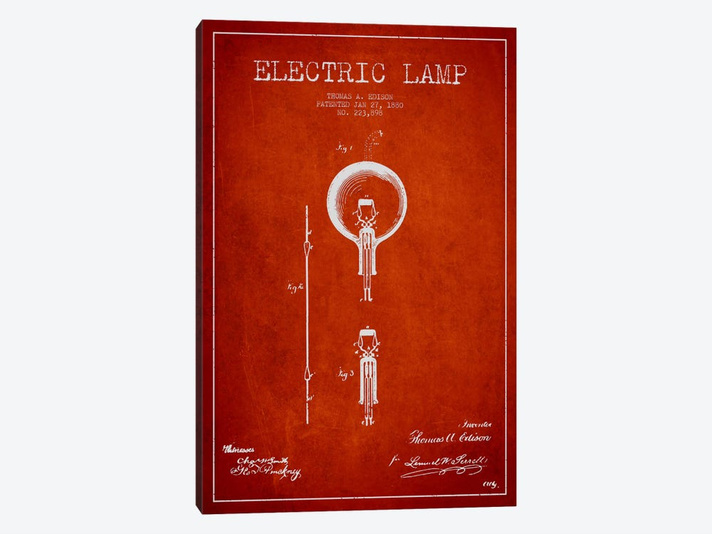 Electric Lamp Red Patent Blueprint by Aged Pixel 1-piece Canvas Art