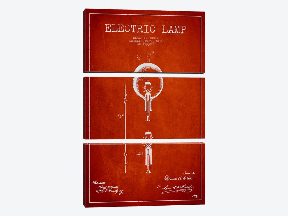 Electric Lamp Red Patent Blueprint by Aged Pixel 3-piece Canvas Wall Art