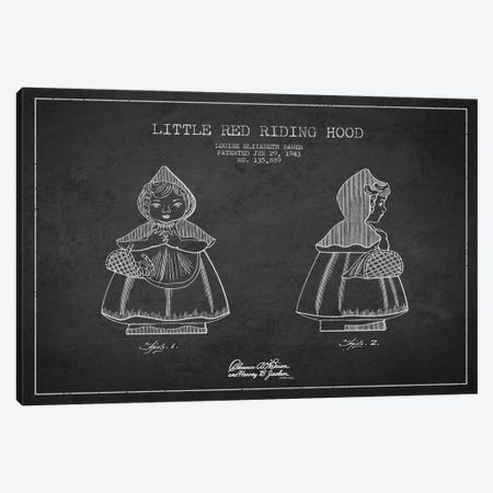 Little Red Riding Hood Dark Patent Blueprint Canvas Print #ADP56} by Aged Pixel Canvas Artwork