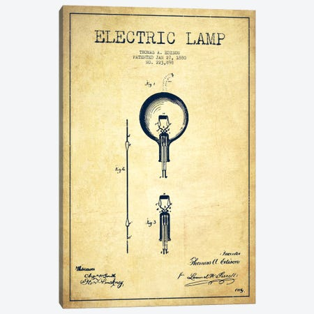 Electric Lamp Vintage Patent Blueprint Canvas Print #ADP570} by Aged Pixel Canvas Art Print