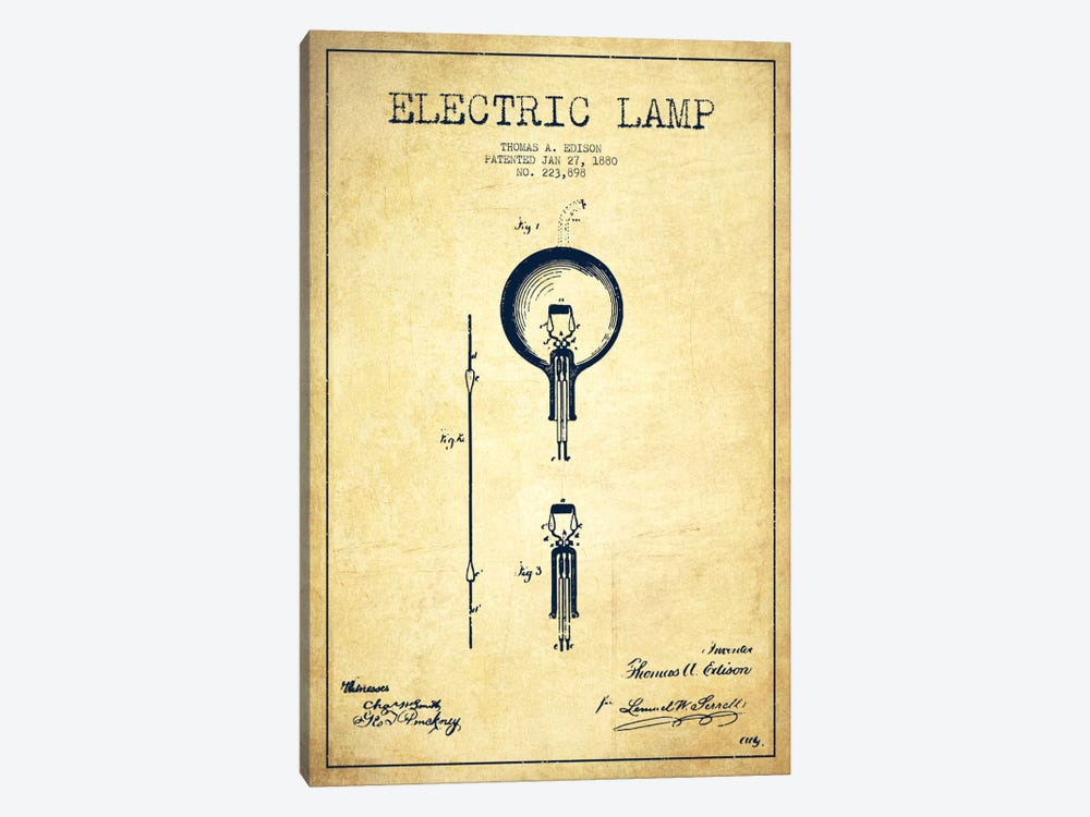 Electric Lamp Vintage Patent Blueprint by Aged Pixel 1-piece Canvas Wall Art