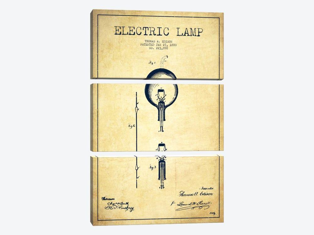Electric Lamp Vintage Patent Blueprint by Aged Pixel 3-piece Canvas Art