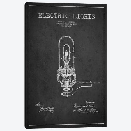Electric Lights Charcoal Patent Blueprint Canvas Print #ADP571} by Aged Pixel Art Print
