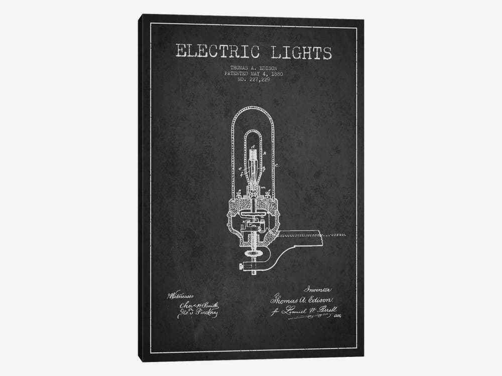 Electric Lights Charcoal Patent Blueprint by Aged Pixel 1-piece Art Print