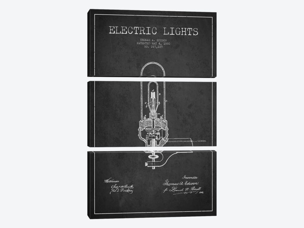Electric Lights Charcoal Patent Blueprint by Aged Pixel 3-piece Art Print