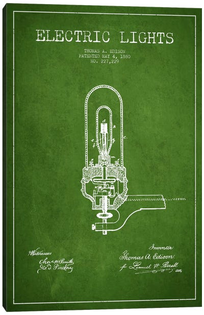Electric Lights Green Patent Blueprint Canvas Print #ADP572