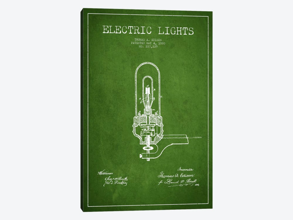 Electric Lights Green Patent Blueprint by Aged Pixel 1-piece Canvas Art