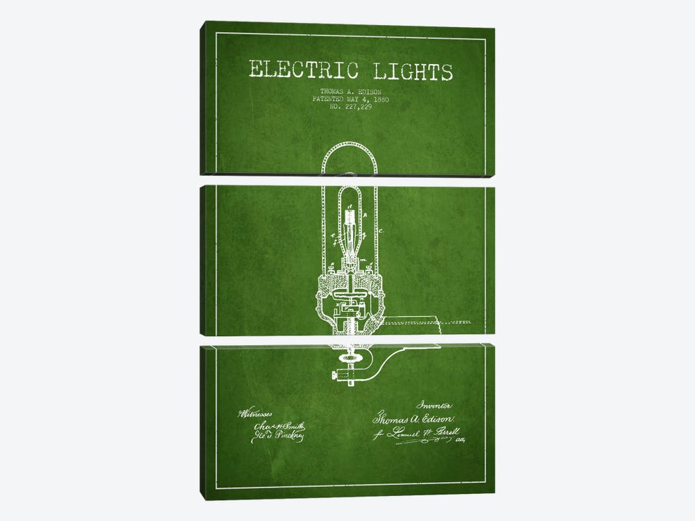 Electric Lights Green Patent Blueprint by Aged Pixel 3-piece Canvas Art