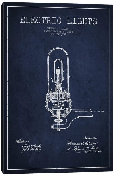 Electric Lights Navy Blue Patent Blueprint Canvas Print #ADP573