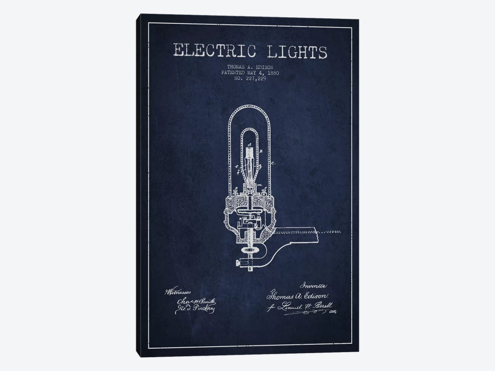 Electric Lights Navy Blue Patent Blueprint by Aged Pixel 1-piece Canvas Art Print