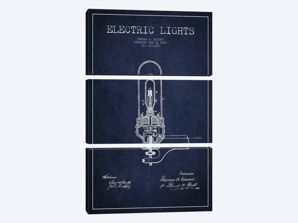 Electric Lights Navy Blue Patent Blueprint by Aged Pixel 3-piece Canvas Art Print
