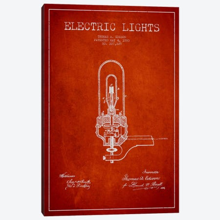 Electric Lights Red Patent Blueprint Canvas Print #ADP574} by Aged Pixel Canvas Artwork