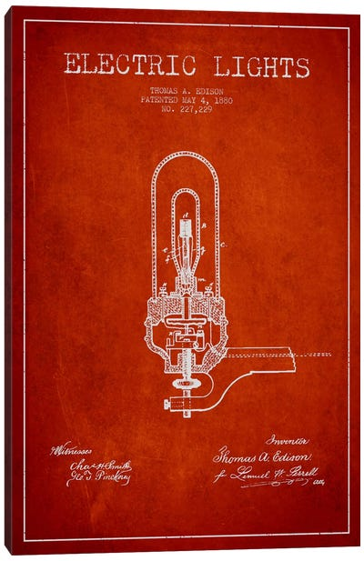 Electric Lights Red Patent Blueprint Canvas Art Print