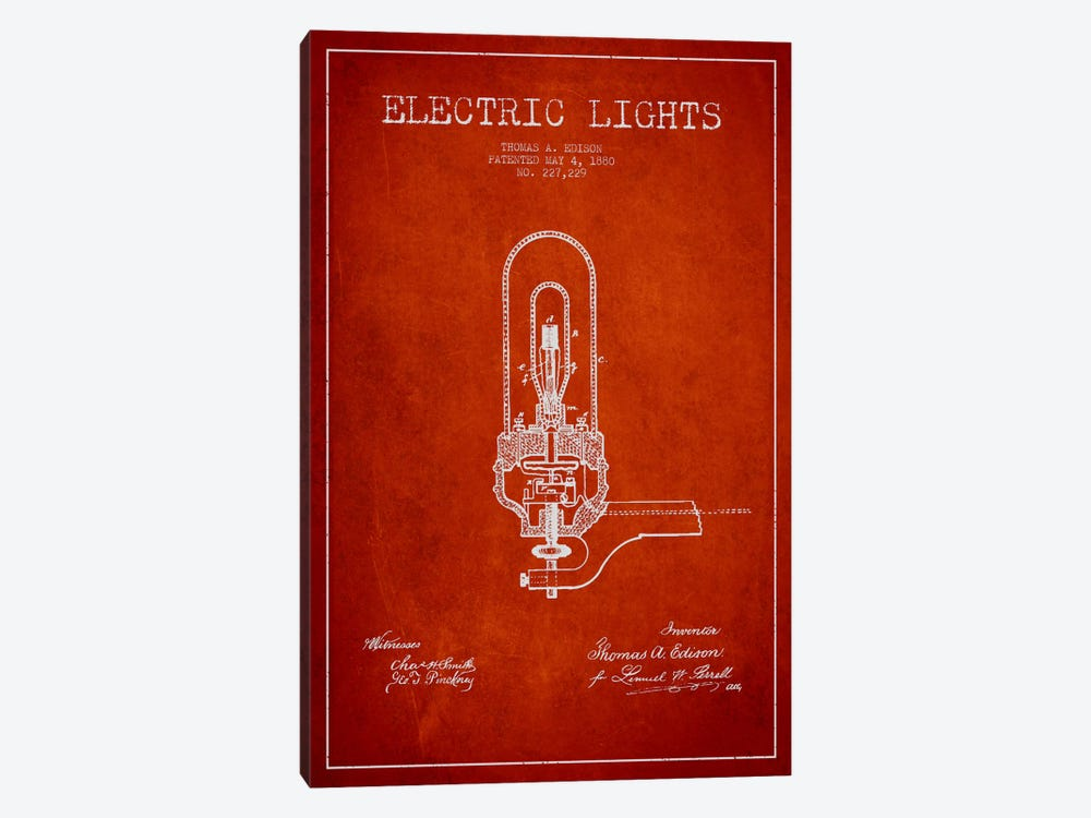 Electric Lights Red Patent Blueprint by Aged Pixel 1-piece Canvas Art