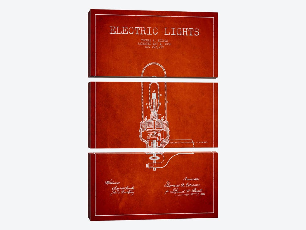 Electric Lights Red Patent Blueprint by Aged Pixel 3-piece Canvas Artwork