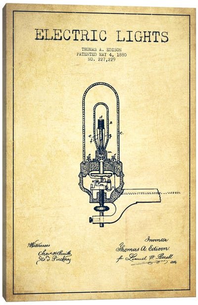 Electric Lights Vintage Patent Blueprint Canvas Print #ADP575