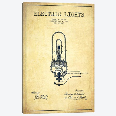 Electric Lights Vintage Patent Blueprint Canvas Print #ADP575} by Aged Pixel Canvas Wall Art