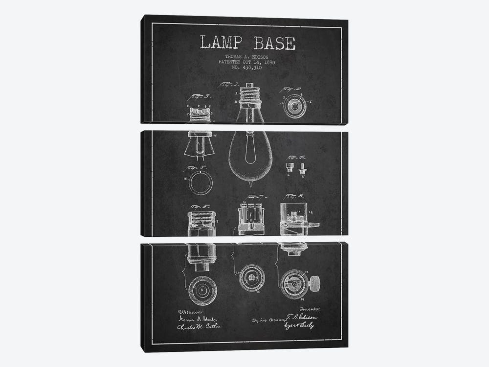 Lamp Base Charcoal Patent Blueprint by Aged Pixel 3-piece Canvas Art