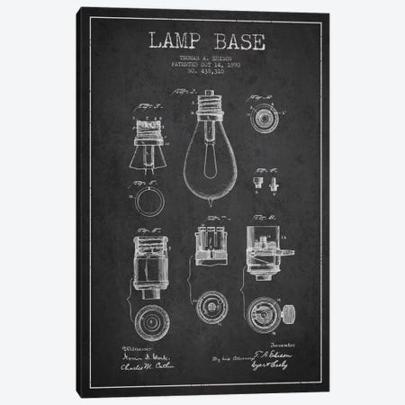 Lamp Base Charcoal Patent Blueprint Canvas Print #ADP576} by Aged Pixel Canvas Art
