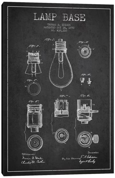 Lamp Base Charcoal Patent Blueprint Canvas Art Print