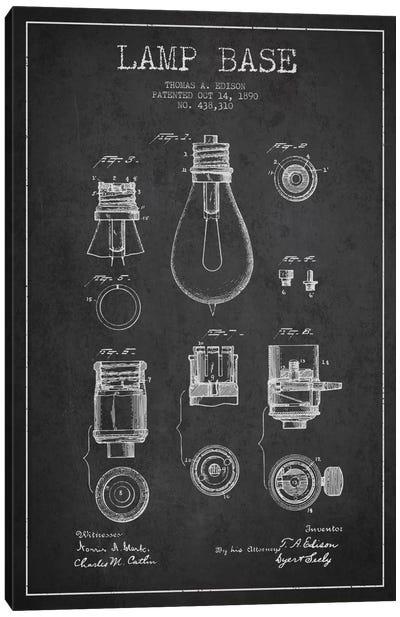 Lamp Base Charcoal Patent Blueprint Canvas Art Print