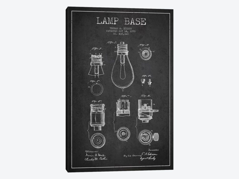 Lamp Base Charcoal Patent Blueprint by Aged Pixel 1-piece Canvas Artwork