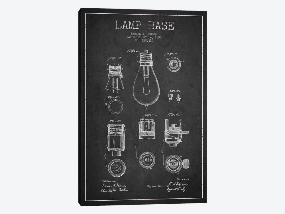 Lamp Base Charcoal Patent Blueprint by Aged Pixel 1-piece Canvas Artwork