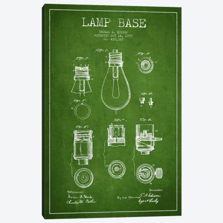 Lamp Base Green Patent Blueprint Canvas Print #ADP577} by Aged Pixel Canvas Art