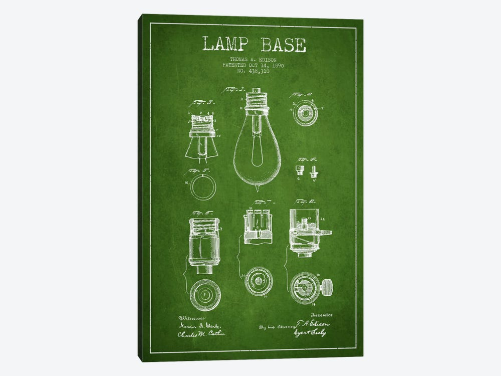 Lamp Base Green Patent Blueprint by Aged Pixel 1-piece Canvas Art Print