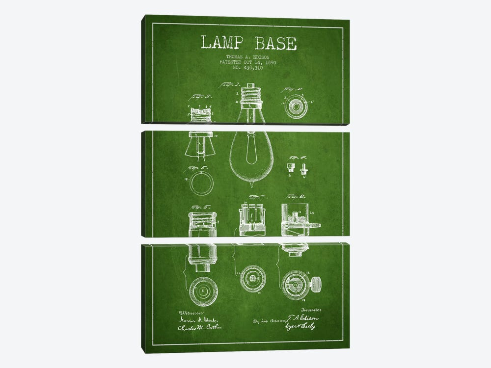 Lamp Base Green Patent Blueprint by Aged Pixel 3-piece Art Print