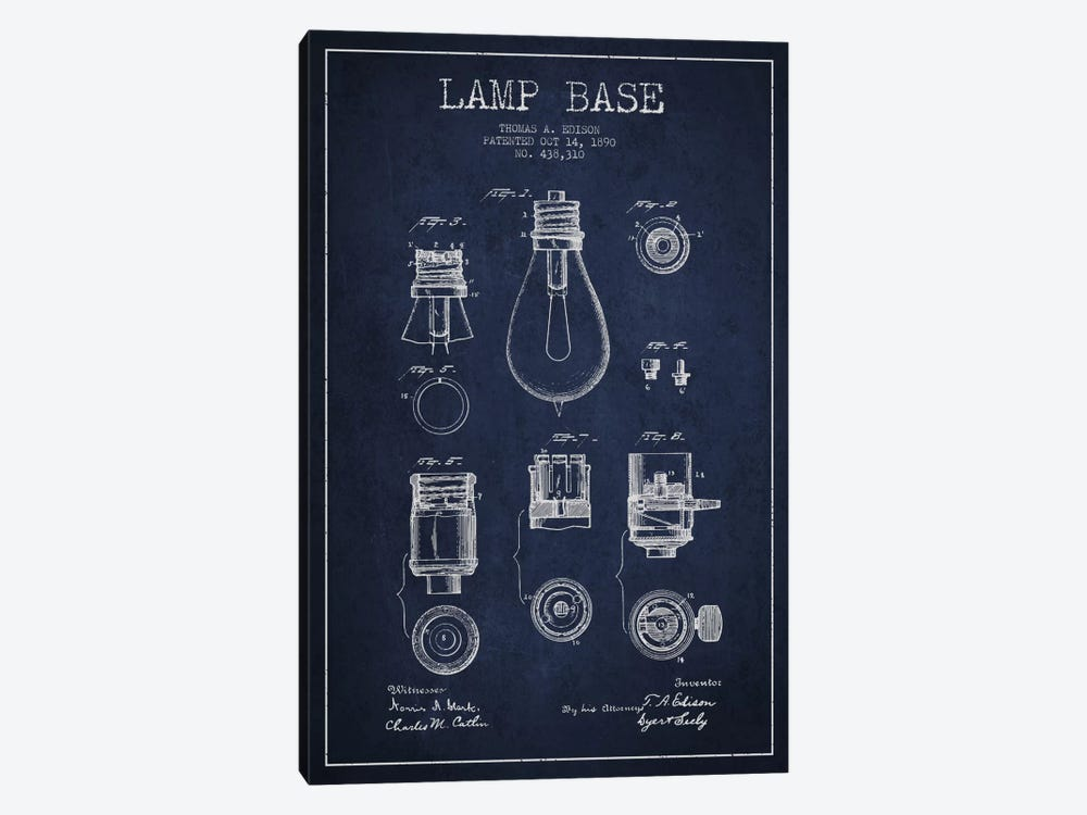 Lamp Base Navy Blue Patent Blueprint 1-piece Canvas Art